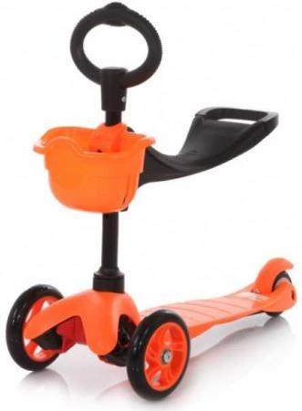 21st scooTer, Самокат 3-х колёсный с сиденьем Maxi Scooter SKL-06B Оранжевый (Orange) leshp 200mm folding height adjustable foot scooter two rounds wheels outdoor double damping push adult kick scooter from russia