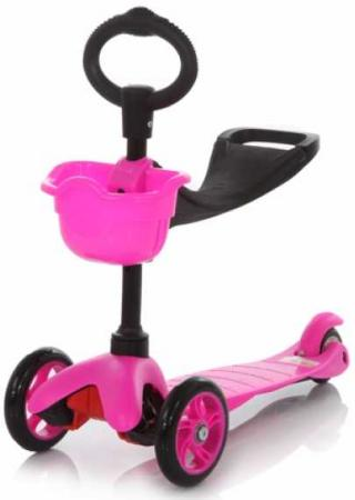21st scooTer, Самокат 3-х колёсный с сиденьем Maxi Scooter SKL-06B Красный (Red) children s scooter 3 round 4 wheel flash pedal multi function baby walkers triad scooter