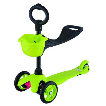 21st scooTer, Самокат 3-х колёсный с сиденьем Maxi Scooter SKL-06B Зелёный (Green) leshp 200mm folding height adjustable foot scooter two rounds wheels outdoor double damping push adult kick scooter from russia
