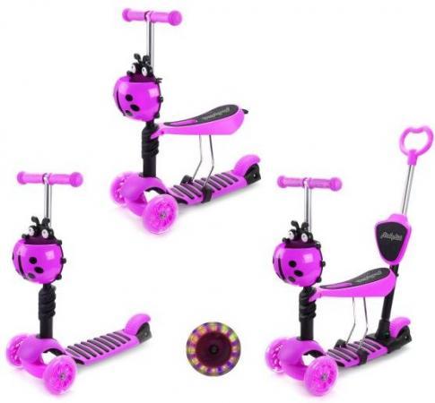 Беговел-самокат трехколёсный Moby Kids Божья коровка 2 в 1 розовый 641132 самокат moby kids 2 в 1 розовый двухколёсный 64627