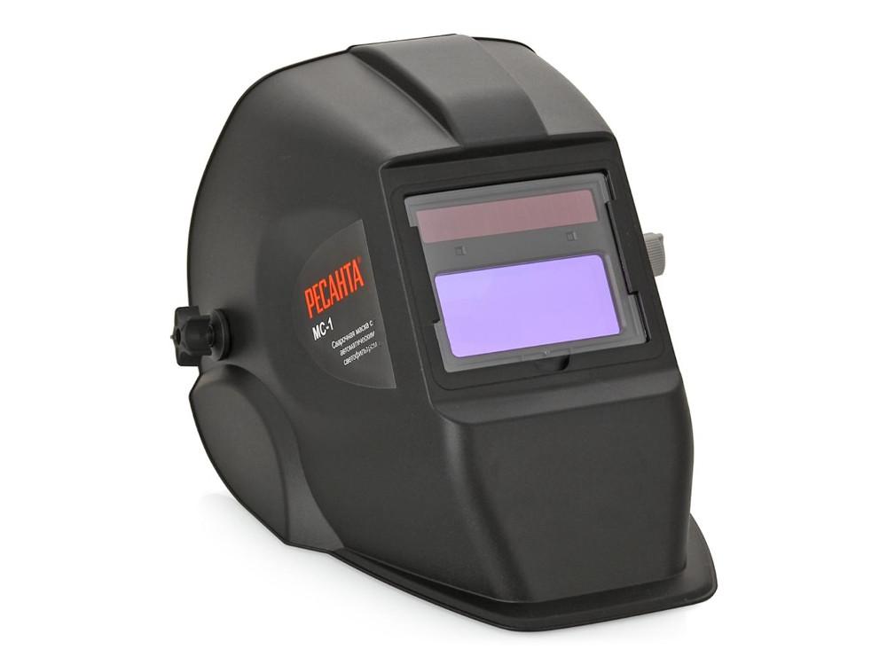 Сварочная маска Ресанта МС-1, Размер смотрового окна 90х40 мм, Питание от солнечной и алкалиновой батарей, вес 0.49 кг от OLDI