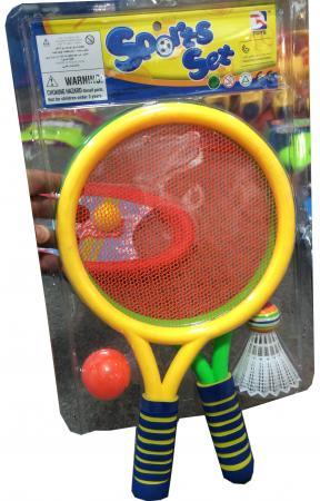 1toy набор для игры с мячом, 2 ракетки с сеткой, волан, мячик, блистер штамп самонаборный trodat 5 строчный 4913 db 2 кассы пластик 58 22мм