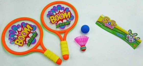 1toy набор для игры с мячом, ракетки пластмассовые, волан, мячик, 43х26х4см