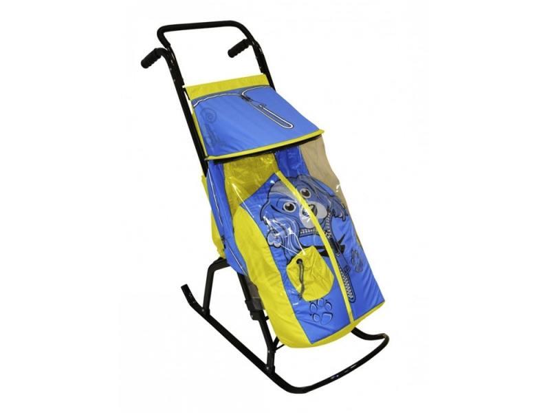 Санки-коляска RT Снегурочка 2-Р Собачка до 50 кг сталь желтый голубой