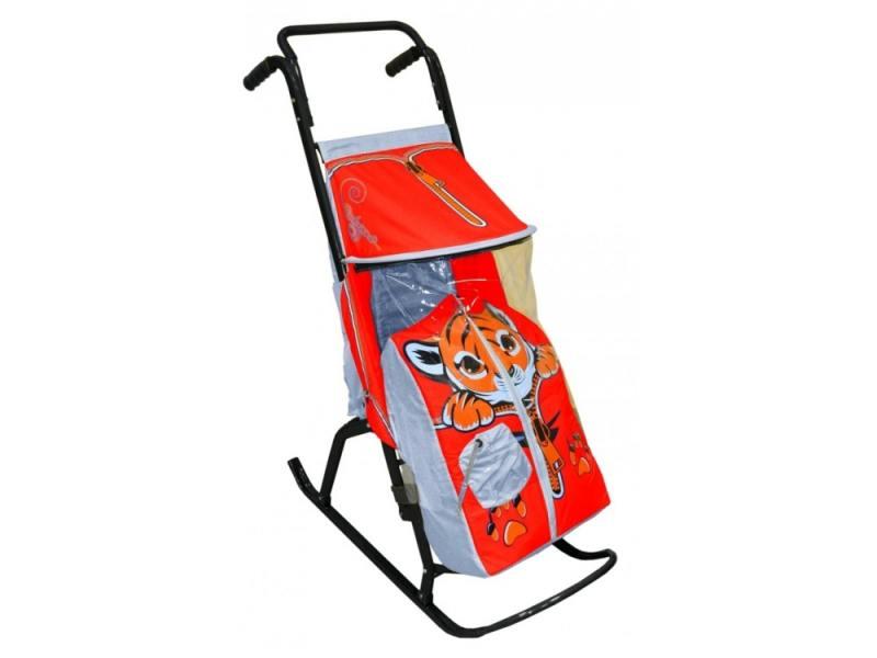 Санки-коляска RT Снегурочка 2-Р Тигренок до 50 кг сталь серый красный rt санки коляска кенгуру 2
