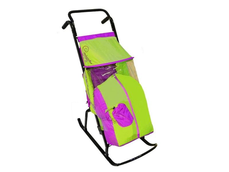 Санки-коляска RT Снегурочка 2-Р1 Снежинки до 50 кг сталь сиреневый салатовый