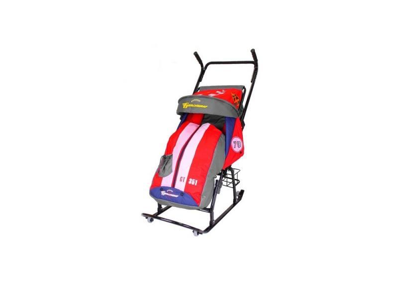 Санки-коляска RT Герда 42-Р5 Тачки Эксклюзив с 4 колесиками и корзинкой до 50 кг сталь серый красный