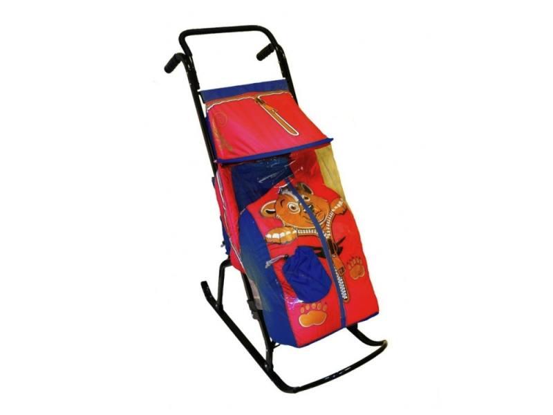 Санки-коляска RT Снегурочка 2-Р Медвежонок до 50 кг сталь синий красный коляска rudis solo 2 в 1 графит красный принт gl000401681 492579