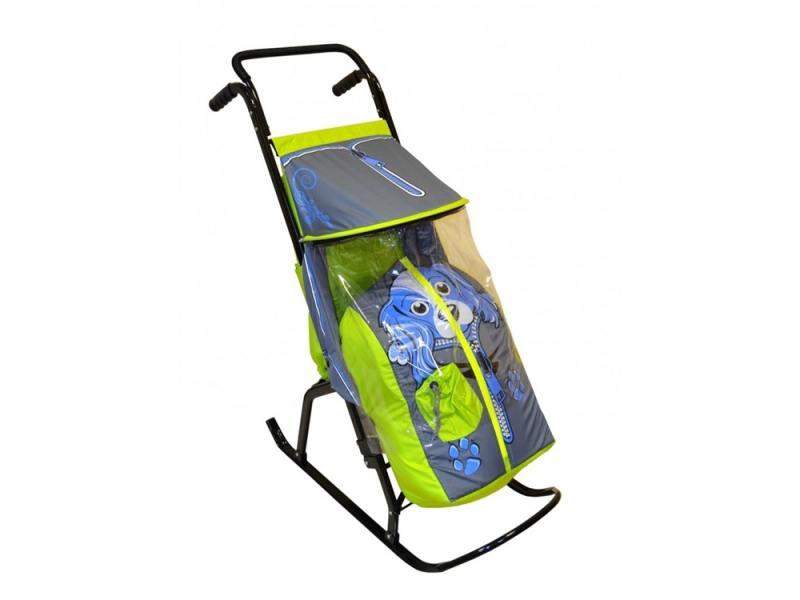 Санки-коляска RT Снегурочка 2-Р Собачка до 50 кг сталь салатовый серый rt санки коляска кенгуру 2