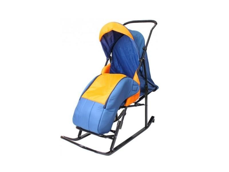 цена на Санки-коляска RT Шустрик-Имго-6 на колесиках с горизонтальным положением спинки до 45 кг сталь синий