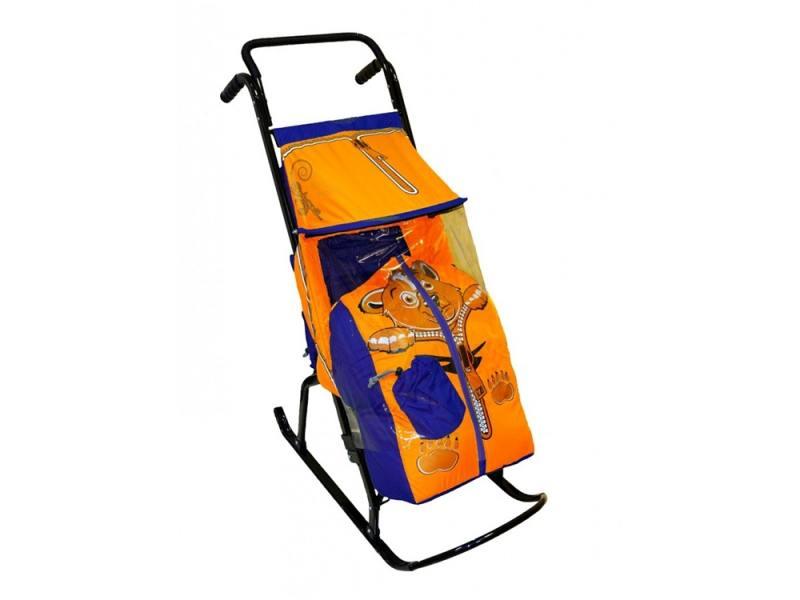 Санки-коляска Снегурочка 2-Р Медвежонок (синий-оранжевый) санки мягкие одноместные ср 2