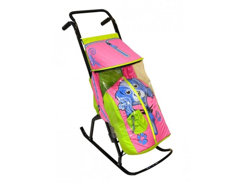 Санки-коляска RT Снегурочка 2-Р Собачка до 50 кг сталь салатовый розовый rt санки коляска кенгуру 2