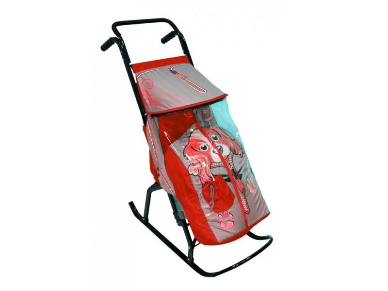 Санки-коляска RT Снегурочка 2-Р Собачка до 50 кг сталь серый красный полесье каталка пикап с ручкой 2 цвет желтый