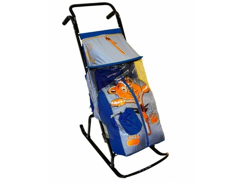 Санки-коляска RT Снегурочка 2-Р Медвежонок до 50 кг сталь синий серый rt санки коляска кенгуру 2