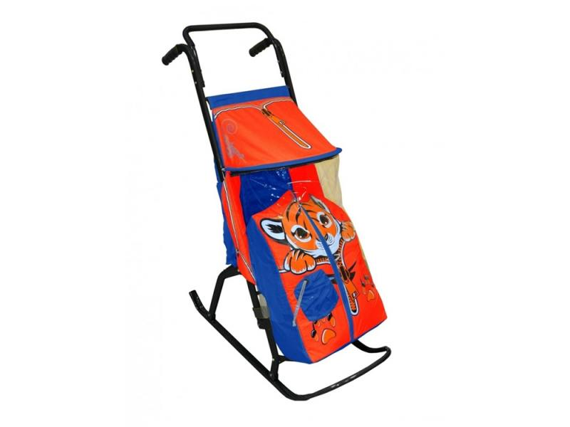 Санки-коляска RT Снегурочка 2 Р Тигренок до 50 кг сталь синий красный rt санки коляска кенгуру 2