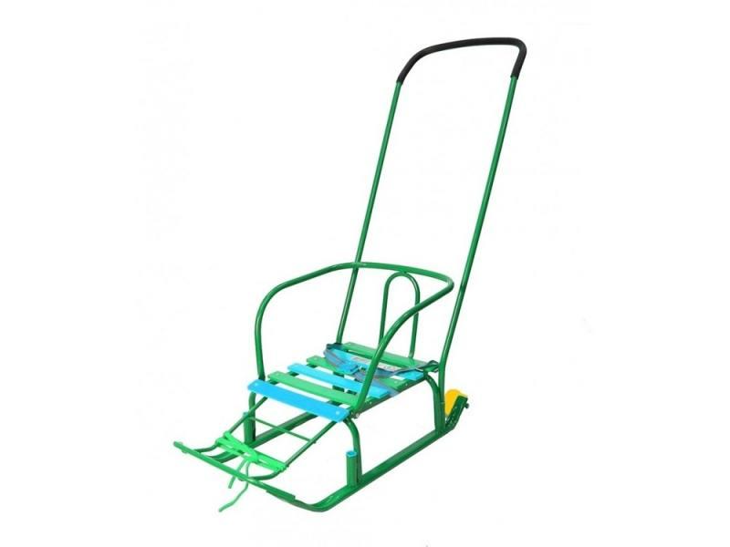 Санки RT Считалочка Девятка с колесиками сталь зеленый T3+