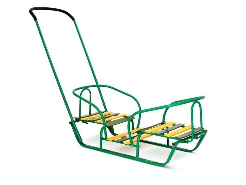 Купить Санки RT Лучшие друзья для двойни до 35 кг дерево металл зеленый, R-Toys, Санки, снегокаты, тюбинги