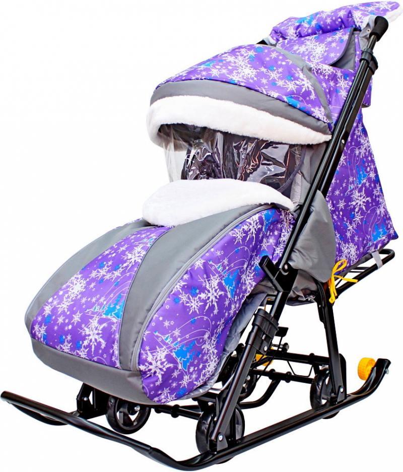 Санки-коляска SNOW GALAXY LUXE Елки на фиолетовом на больших мягких колесах+сумка+муфта санки коляски galaxy снежинка универсал