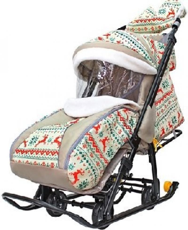 Купить Санки-коляска SNOW GALAXY LUXE Белая ночь Олени оранжевые на больших мягких колесах+сумка+муфта, Санки, снегокаты, тюбинги