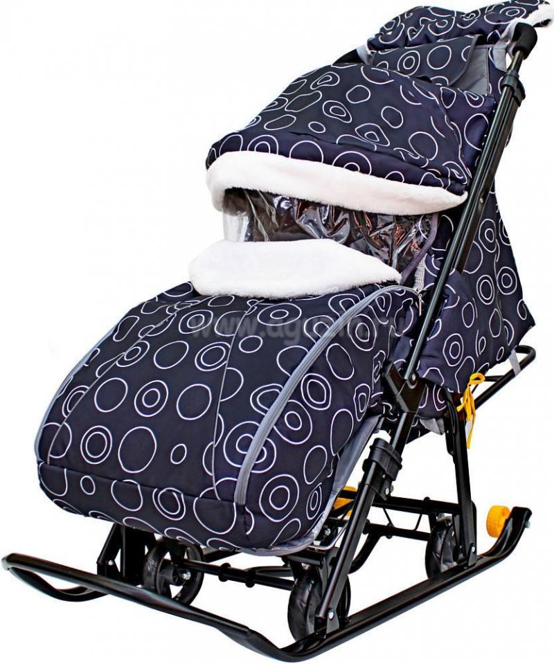 Санки-коляска SNOW GALAXY LUXE Круги на черном на больших мягких колесах+сумка+муфта