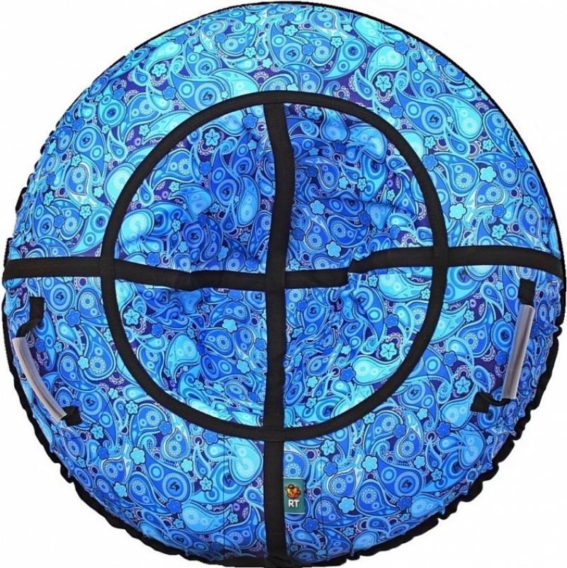Санки надувные Тюбинг RT Русский Узор голубой, диаметр 118 см