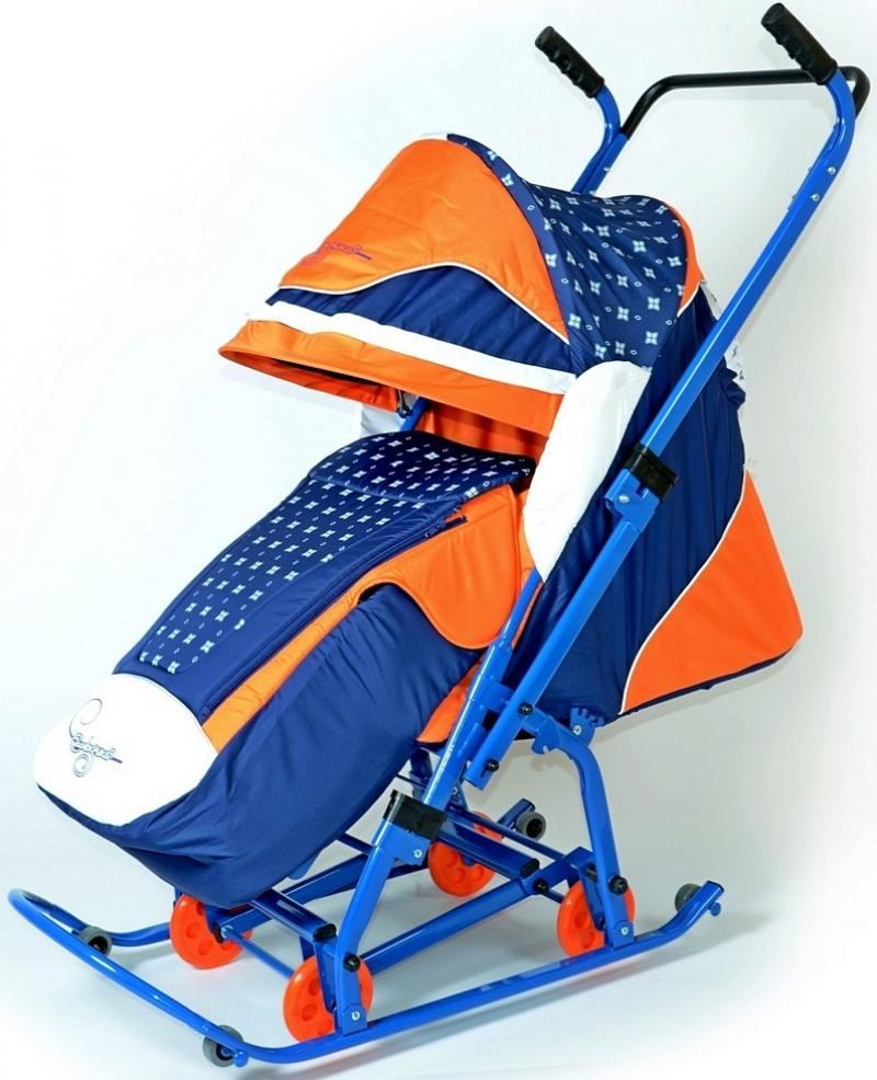Санки-коляска RT СКОЛЬЗЯШКИ Мозаика синий-оранжевый-белый 0913-Р14 скользяшки 0915 р14