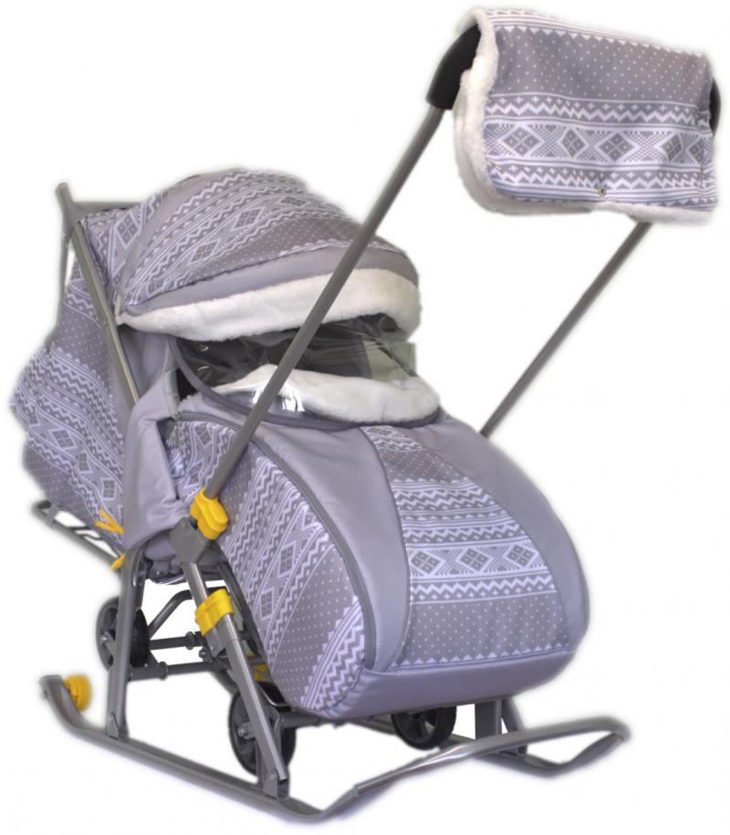 Санки-коляска SNOW GALAXY LUXE Финляндия серая на больших мягких колесах+сумка+муфта пальто с саржевым эффектом coat solid