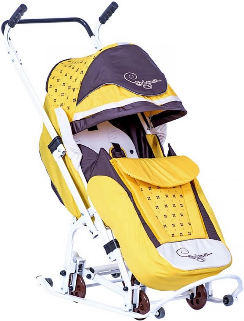 Санки-коляска Санки Снегокаты RT Скользяшки, Мозаика до 45 кг пластик металл ткань желтый коричневый