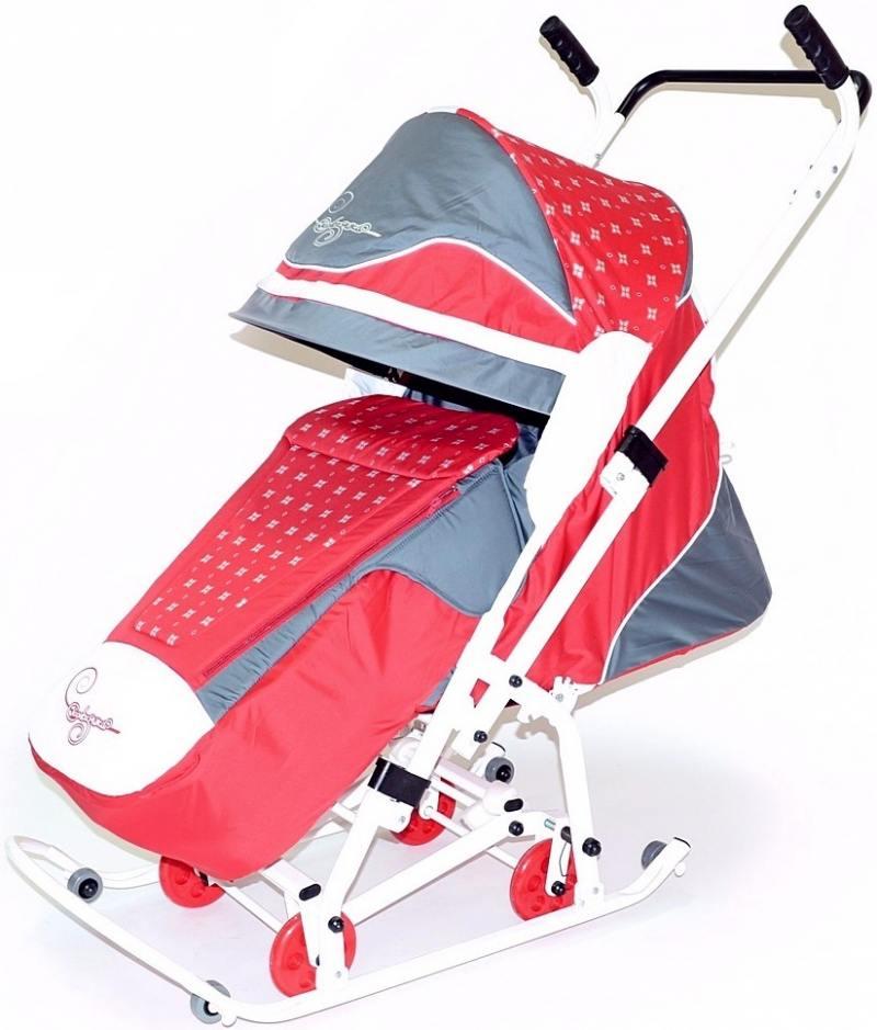 Санки-коляска Санки Снегокаты RT Скользяшки, Мозаика до 45 кг пластик металл ткань красный серый бел