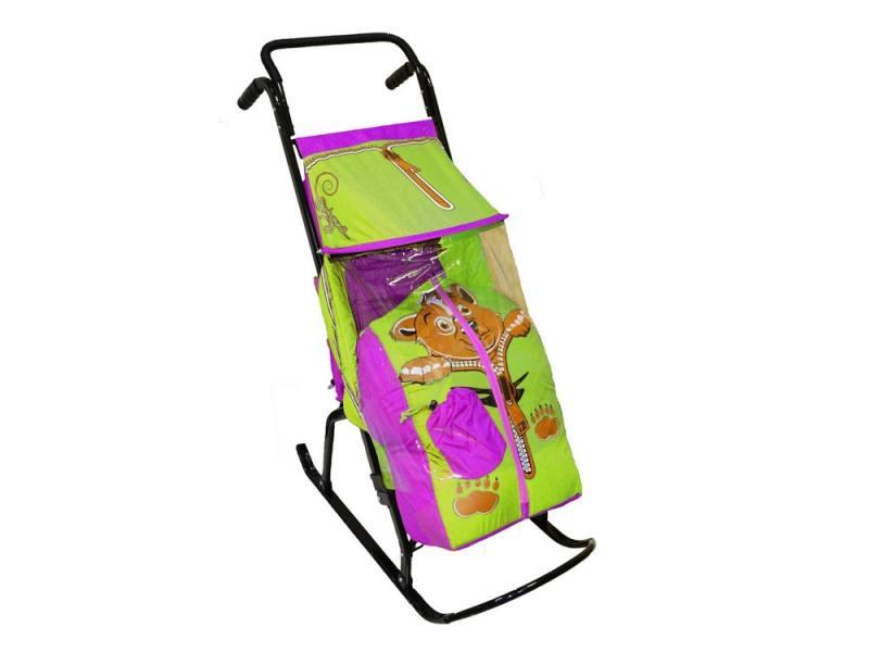 Санки-коляска RT Снегурочка 2-Р Медвежонок до 50 кг сталь сиреневый салатовый rt санки коляска кенгуру 2