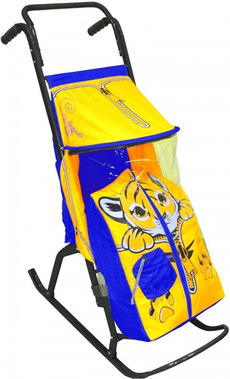 Санки-коляска RT Снегурочка 2-РТигренок до 50 кг дюспо металл желтый голубой