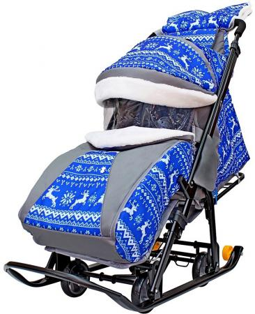 Санки-коляска Snow Galaxy LUXE Зимняя ночь Олени 6080 до 25 кг ткань металл синий серый рисунок черн snow galaxy санки коляска белая ночь
