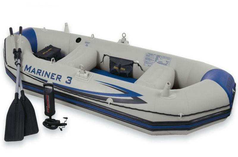 Надувная лодка INTEX маринер 3, 297х127х46см/весла алюм./насос ручной лодка надувная hunterboat хантер 290031 290 л серая