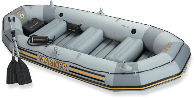 Надувная лодка INTEX моряк,весла,руч.насос 328х145х48см 320кг лодка надувная hunterboat хантер 290031 290 л серая