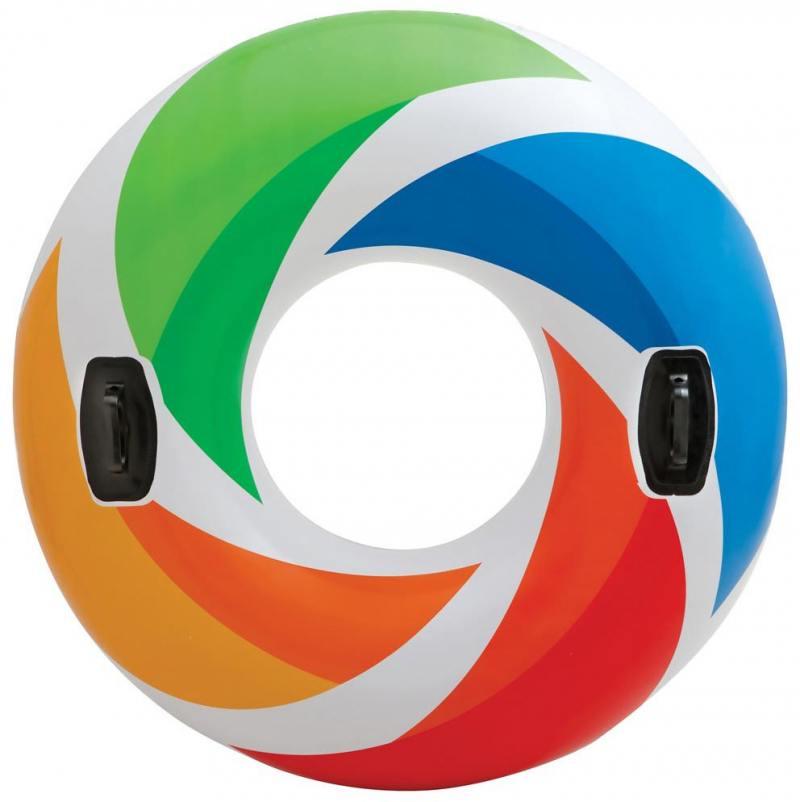 Надувной круг Intex цветн.вихрь с ручками 122см от 12лет надувной круг ходунки intex островок с навесом 56590