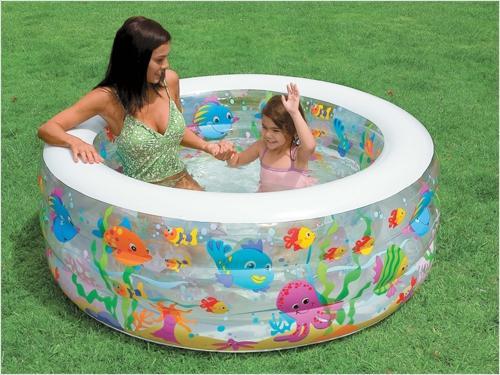 Надувной бассейн Intex аквариум (надув.пол) 152х56см от 6лет надувной бассейн intex бассейн аквариум 152 56см