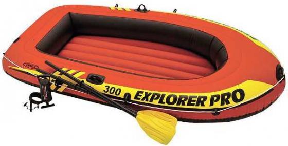 Надувная лодка INTEX эксплорер про 300, 244х117х36см, весла лодка надувная лидер 430 зеленая