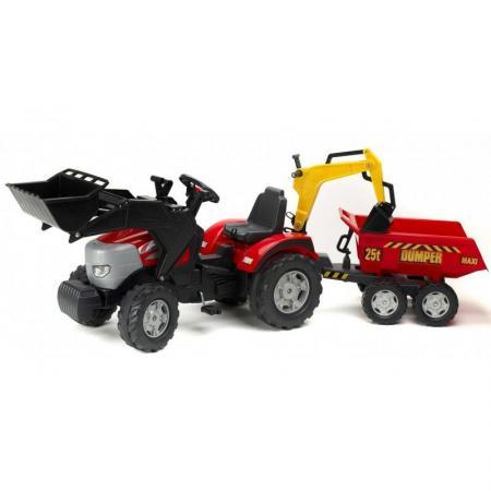 FAL1030W Трактор-экскаватор педальный с прицепом, ковшом FALK FAL1030W красный 225см трактор с прицепом св ход 36см dickie
