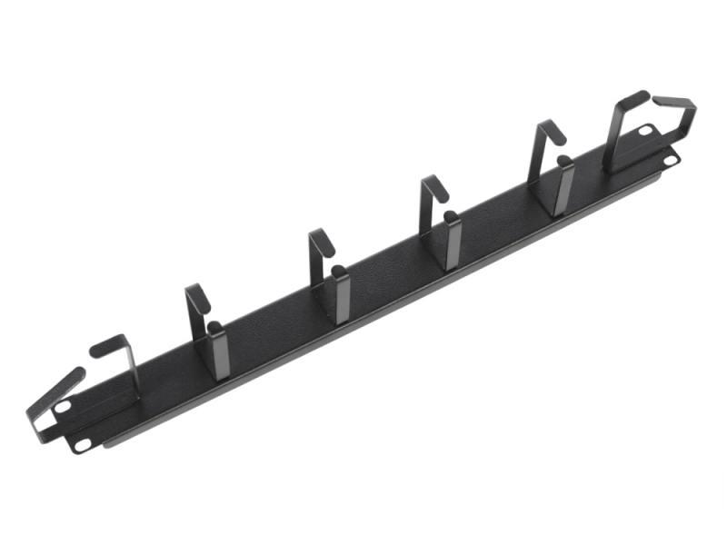 Горизонтальный кабельный органайзер ЦМО 19 1U 6 колец ГКО-1-6-9005 черный кабельный органайзер горизонтальный цмо гко у гребенка 1u шир 19
