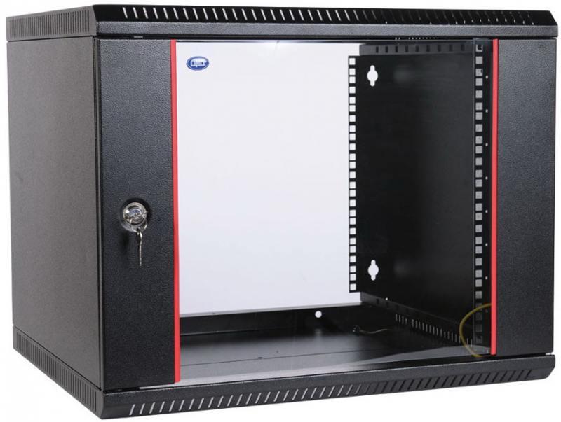 Шкаф настенный ЦМО разборный (ШРН-Э-9.500-9005) 9U, 600x520мм, дверь стекло, черный шкаф цмо напольный разборный 19 27u 600x600мм дверь стекло