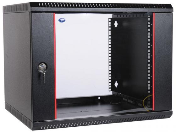 Шкаф настенный разборный 6U ЦМО ШРН-Э-6.350-9005 600x350мм дверь стекло черный