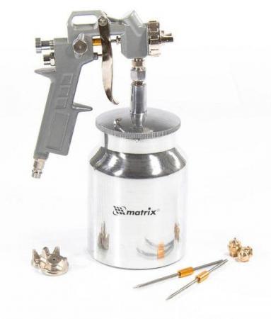 Краскопульт пневматический MATRIX 57317 с нижним бачком v=075k + сопла диаметром 1.2 1.5 и 1.8мм
