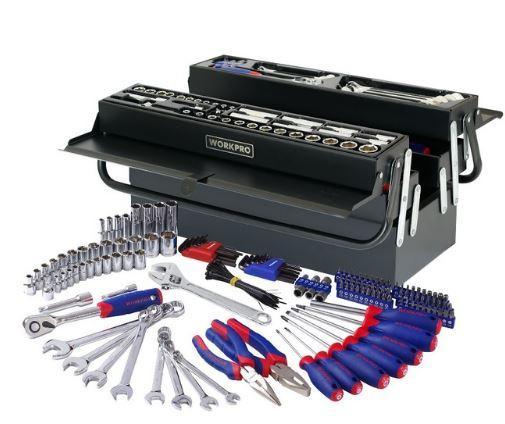 Набор инструментов WORKPRO W009038 в раздвижном металлическом ящике 183предмета workpro w1210 портативный набор инструментов 10 штук