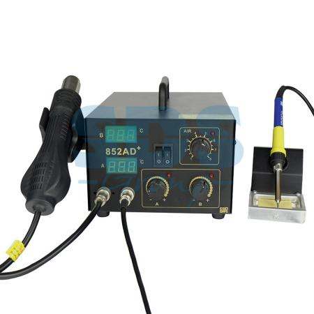 Паяльная станция (паяльник + термофен) с цифровым дисплеем 100-480°С (R852AD+) REXANT паяльная станция с цифровым дисплеем 150 450с 220в 48вт rexant zd 931 12 0145