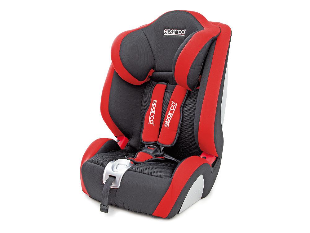 Детское автокресло Sparco (F 1000K), группы 1/2/3 (9-36 кг/9 мес-12 лет), полиэстер + объёмная сетчатая ткань, чёрн./красный, 1/2 автокресло 1 2 3 9 36 кг nania beline sp luxe