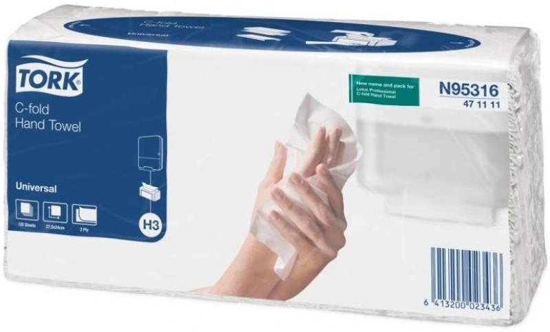 Полотенца бумажные TORK SINGLEFOLD, C-сложения, Н3, 120 л, 2-сл., 24х27,5 см, натур. белые 471111-01 от OLDI