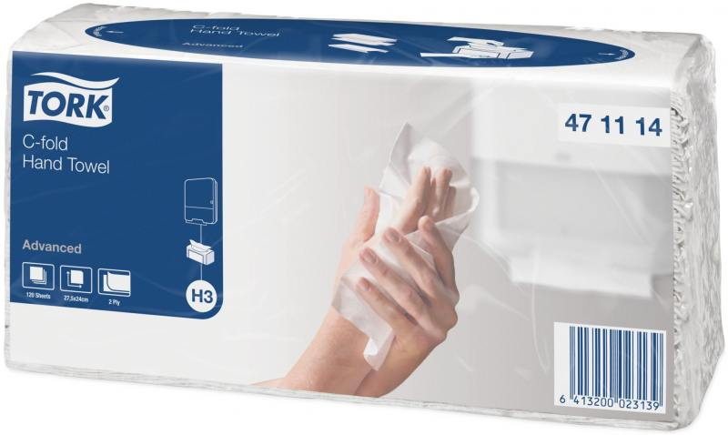Полотенца бумажные TORK SINGLEFOLD, C-сложения, Н3, 120 л, 2-сл., 24х27,5 см, белые от OLDI