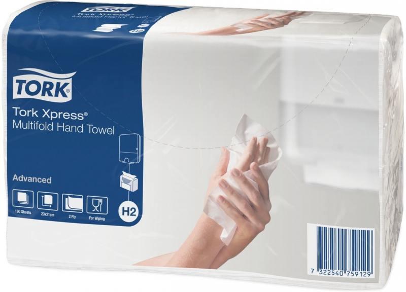 Полотенца бумажные TORK Xpress, H2, сложения Multifold, -., Z-сложение, 23,4х21, натур., 190