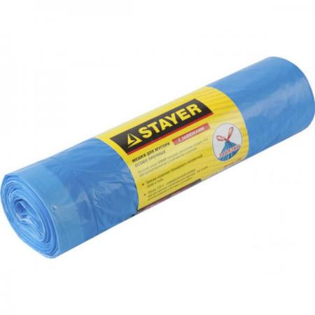 Пакеты для мусора Stayer Comfort завязками 30л 20шт голубой 39155-30 мешки для мусора stayer comfort с завязками голубые 60л 20шт 39155 60