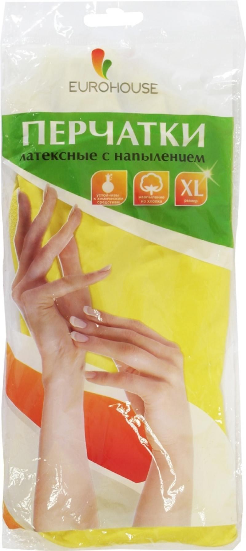 Перчатки хозяйственные EURO HOUSE, латексные, х/б напыление, XL 3699 перчатки хозяйственные euro house латексные х б напыление s 3700